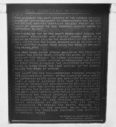 Plaque at the summit. Hill Cumorah monument Shortsville, NY
